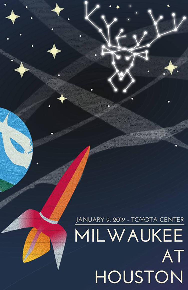 Some guy is designing posters for every Milwaukee Bucks game